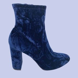 Navy Blue Suede Chunky Heeled Ankle Booties 11